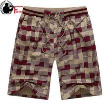 Bermuda masculina quente 2020 verão cintura elástica dos homens calções xadrez design clássico calças curtas de algodão casual praia tamanho grande 44