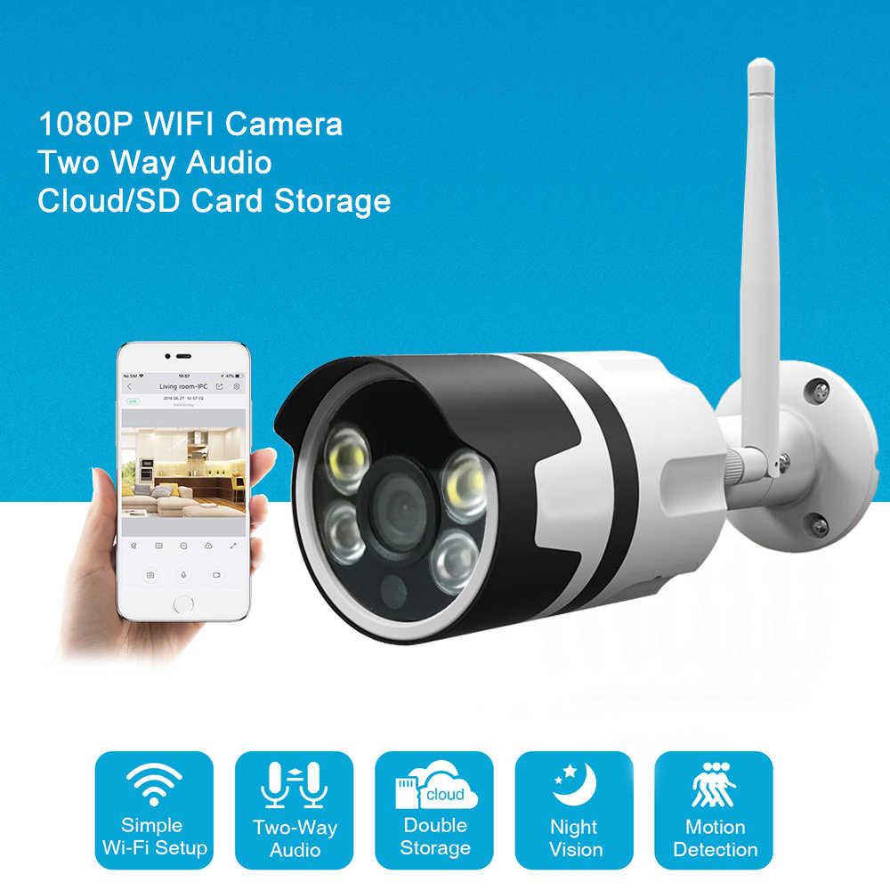 واي فاي في الهواء الطلق كاميرا IP واي فاي 1080P 720P كاميرا الأمن اللاسلكية مقاوم للماء CCTV المراقبة بالفيديو سحابة كاميرا مصغرة بطاقة SD