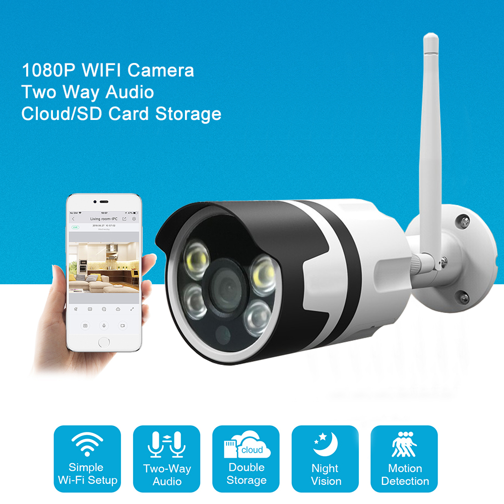 WiFi Outdoor IP Camera Wi-Fi 1080P 720P Wireless Waterproof Camera Two Way Audio CCTV Surveillance Cloud Storage Bullet Camera kerui 1080p cloud storage wifi ip camera surveillance camera 2 way audio activity alert smart webcam