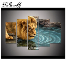 FULLCANG diy diamond painting 5 pcs lion drink water full square embroidery pattern 5D mosaic animals F217