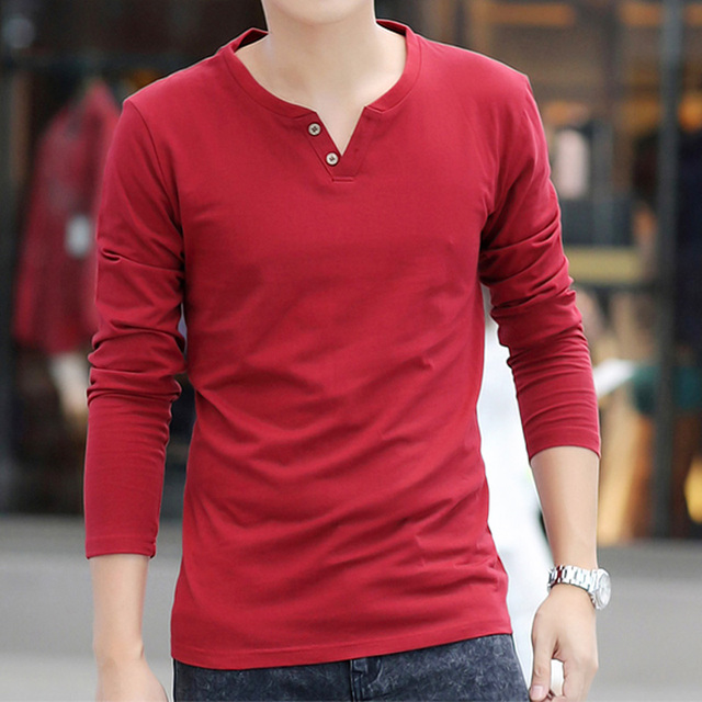 2017 New Long-Sleeved PLPO Shirt Neck Shirt Solid Color Men' Casual Shirt High-Quality Fabrics 3XL Variety Of Colors  MK621