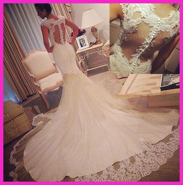 Mermaid Wedding Dresses 2019 Lace Bridal Gowns Sheer Back Cap Sleeves Buttons Vestidos de Novia gelinlik Marriage Reception