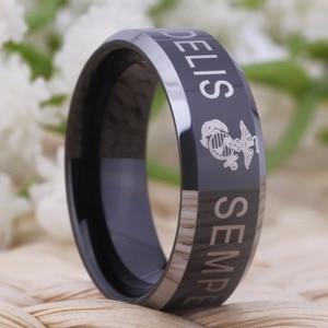 "Image 5 - YGK ארה""ב צבאי טבעת ארצות הברית חיל הנחתים ארה""ב צבא גברים חותם טבעת Comfort Fit USMC סמפר פידליס טונגסטן חתונה טבעת"