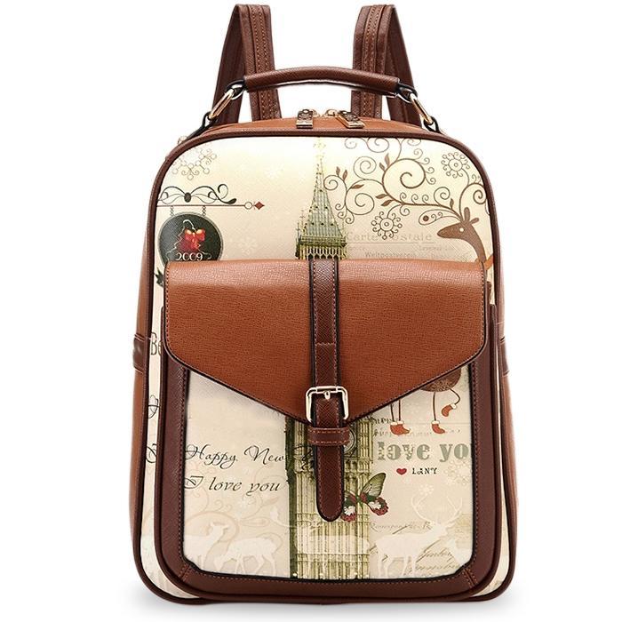 Fashion 2015 College Wind Women School Backpacks Bag Female Pu Leather Backpack Printing Backpack Women School Bags цена 2017