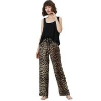 2019 Spring Summer 2pcs set black sleeveless elastic waist loose fit long printed Leopard pants Pajama Sets