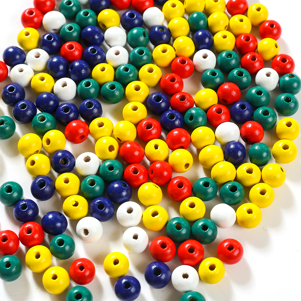 100 Ball Wooden Beads Colourful 10x9mm Mix round Wood Pearls Spacer Circle