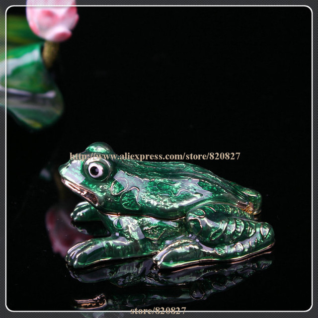 Metal Crystal Frog Trinket Box Jewelry Boxes Mini Frog Design Gift