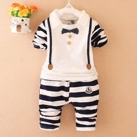 2017 Baby Boy Clothing Set Boy Long Sleeves Striped Bow Tie Top Pants Suit Gentleman Baby