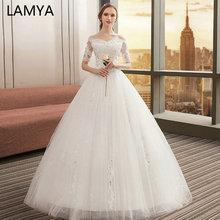 Vestidos De novia LAMYA 2019 De talla grande con mangas De encaje, vestidos De novia Vintage De tul, vestidos De boda