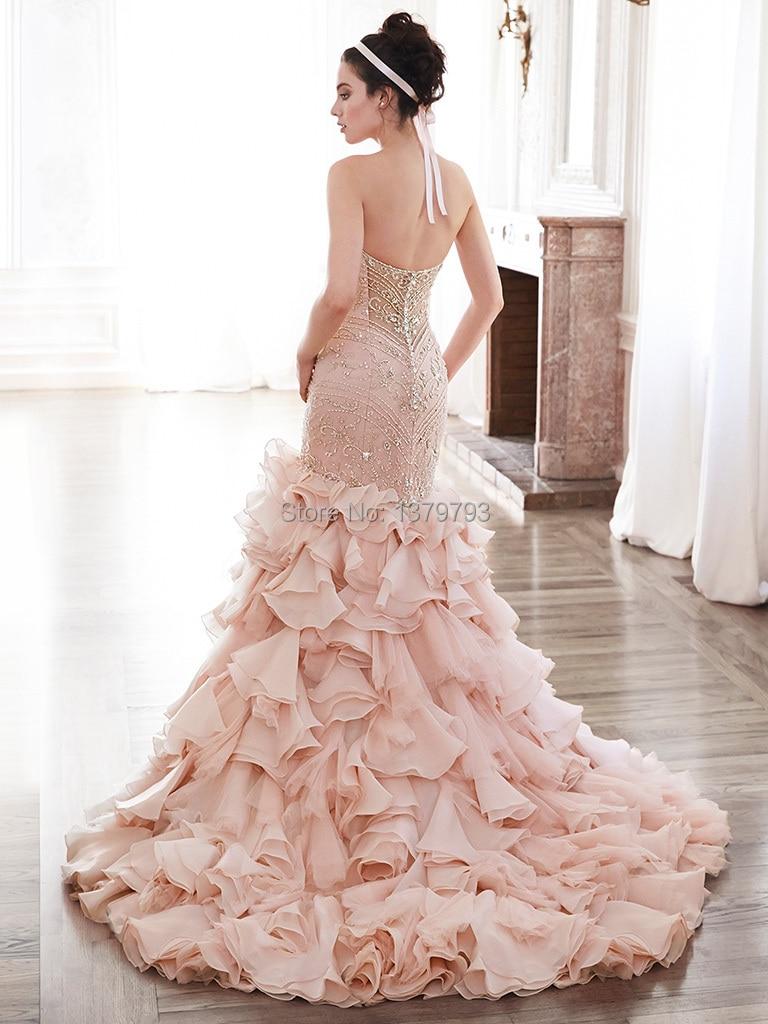 2015 Luxury Sweetheart Blush Beaded Bodice Pleated Skirt Mermaid ...