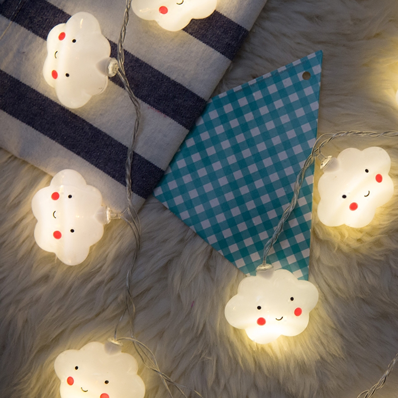 10 Led Fairy Lovely Smile Cloud Luminaria Battery Operated String Lights 1.5m LED Decoration For Christmas Garland On The Window