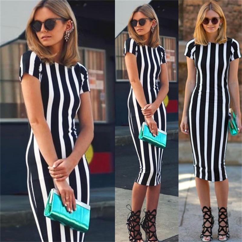 New Women Vertical Striped Fitness Bodycon Dresses Work Style Sexy Short Sleeve Sheath Office Midi Summer Dress Plus Size DWA23 (1)