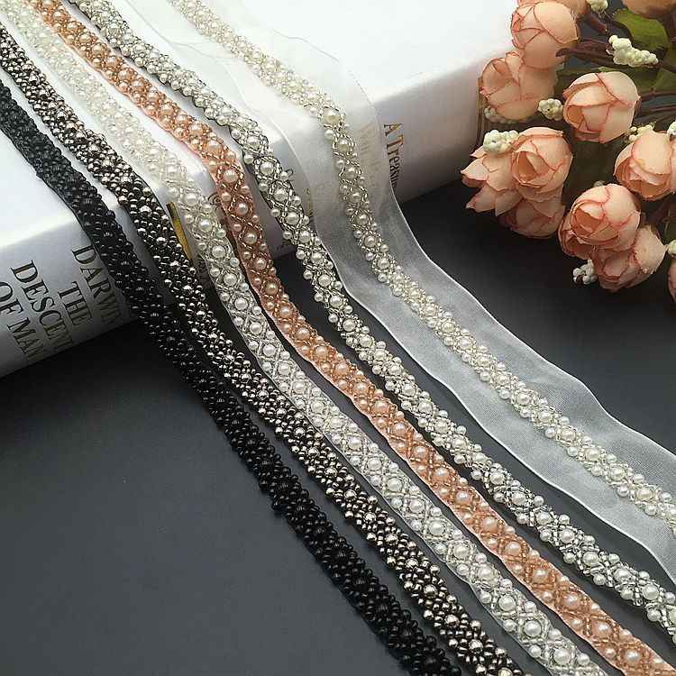 1 Yards Pearl Beaded Embroidered Fabric Lace Trim Ribbon for Fabric Handmade DIY Costume Dress Sewing Supplies Craft