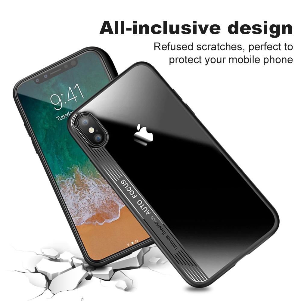 Ascromy For iPhone XS Max Case Clear TPU PC Silicone Bumper Transparent Phone Cover For Apple iPhone X S XR XS coque Accessories (3)