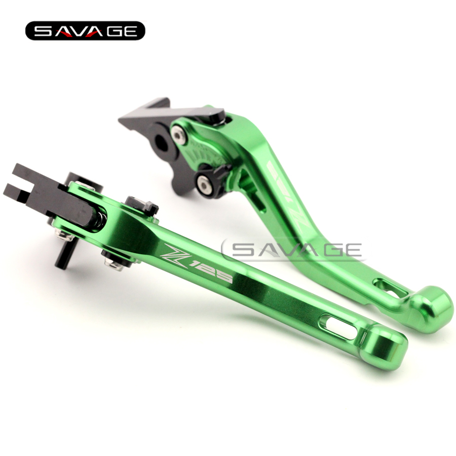 For KAWASAKI Z 125 Z125 2016 Green Motorcycle CNC Aluminum Adjustable Short Brake Clutch Levers logo Z125