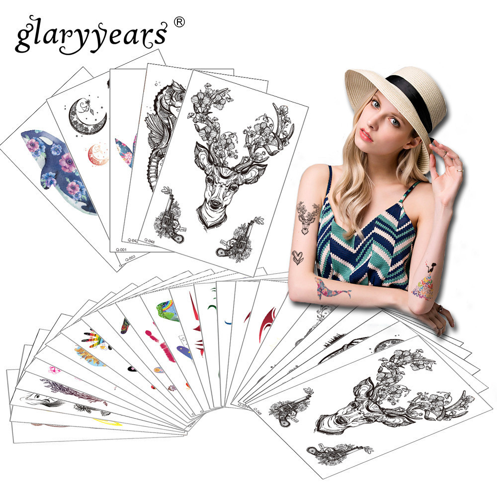 Glaryyears 5 Sheets/Set Temporary Tattoo Sticker Fake Tatoo Flash Tatto Waterproof Small Body Art Men Women 8 Deigns