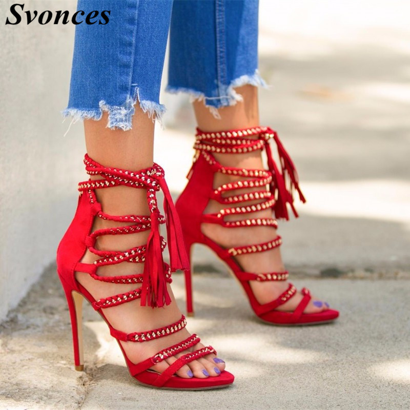 Chmaori 2018 Hot Woman Mesh Open Toe Gladiator Sandals Boots Ladies Wine Red Lace-up Shoes Woman Thin High Heels Dress Shoes Women's Shoes