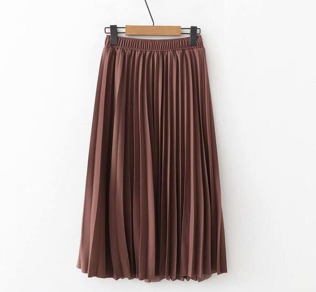 2020 Spring High Waist Pleated Skirt Women Black Causal Midi Skirts Plus Size Elastic Waist 4