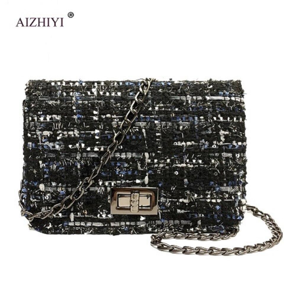 Fashion Women Design Chain Detail Cross Body Bag Ladies Shoulder Bag bolsa franja Luxury Evening Bags Woolen Cutch Bags