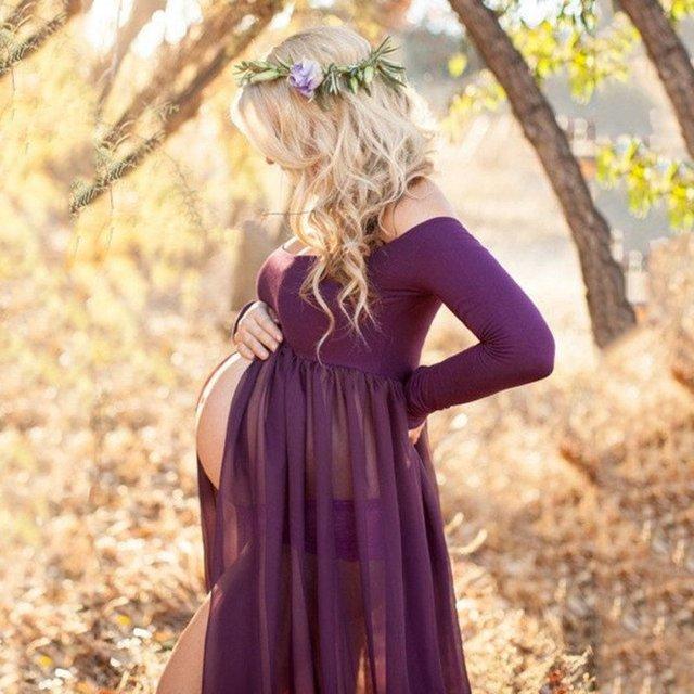 Mulheres maternidade adereços fotografia de maternidade de algodão maxi vestido de maternidade sexy dress