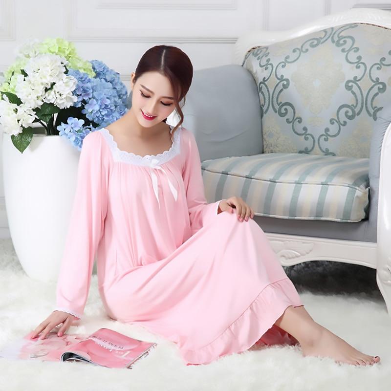 Spring Autumn Cotton Modal Nightdress Nightgown For Women Long Sleeve Loose White Princess Home Wear Sleepwear Sleepdress