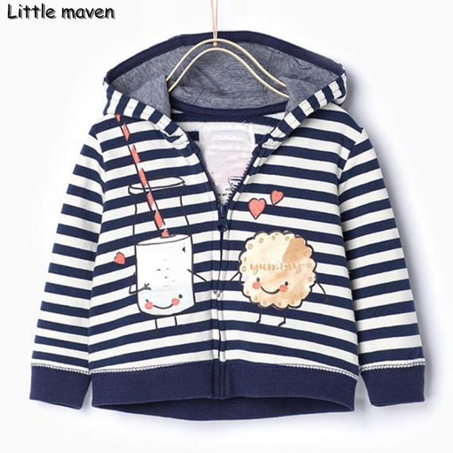Pouco maven 2016 meninos de inverno da marca roupas crianças listrado com capuz casaco de algodão Hoodies & Camisolas WY056
