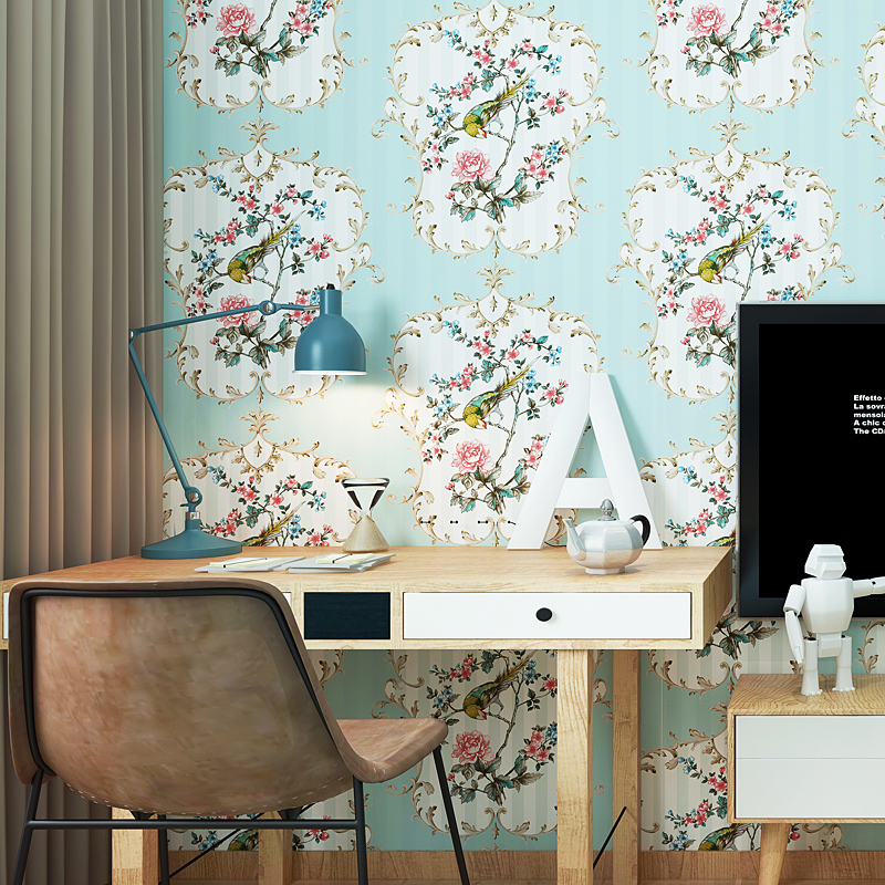 0.53x10 meters Chinese flowers and birds pastoral flower pattern wallpaper bedroom marriage room entrance  non-woven wallpaper the hermitage birds and flowers