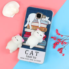 Funny Cute Cat Squishy Phone Case for Samsung Galaxy J3 J5 J7 A3 A5 A7 2016 2017 S6 S7 edge S8 Plus Note 8 Soft TPU Back Cover(China)