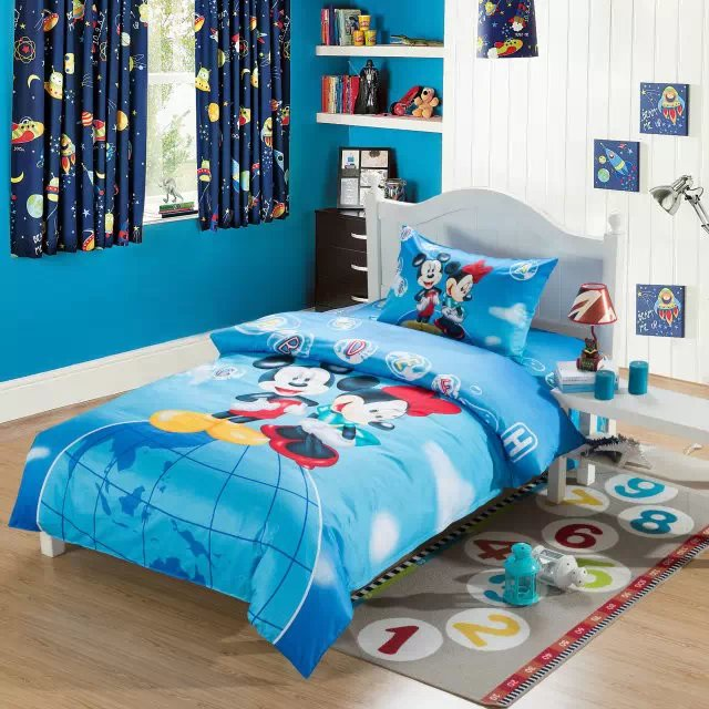 blue mickey and minnie bedding sets single twin size comforter duvet cover  bedspread cotton Children s bedroom. Compare Prices on Mickey and Minnie Bedding  Online Shopping Buy