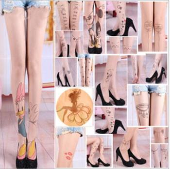 Harajuku Women Pantyhose Stocking Spring 2015 new style Fashion Tattoo Tights sexy parttern stockings Transparent Silk Pantyhose tights