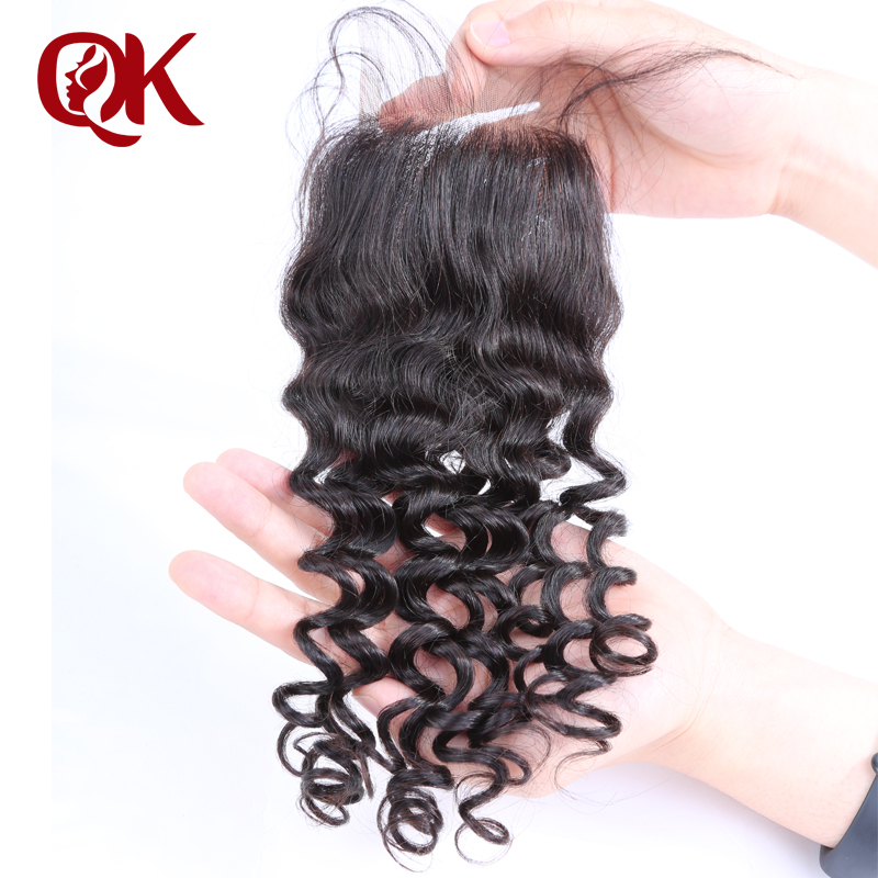 QueenKing Hair Brazilian Lace Closure Curly Remy Hair 3.5