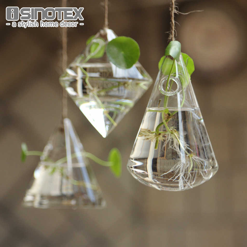 Pendurado Vaso De Vidro Geométrica DIY Plantio Recipiente Hidropônico Flor Planta Jardim Home Decor Terrário Decoração de Festa Em Casa