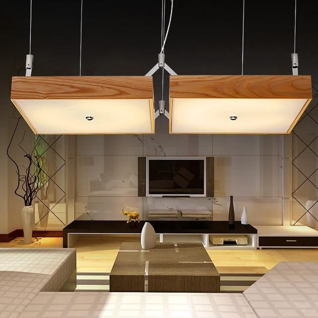Legno moderno LED luce lampada a sospensione soggiorno caldo ...