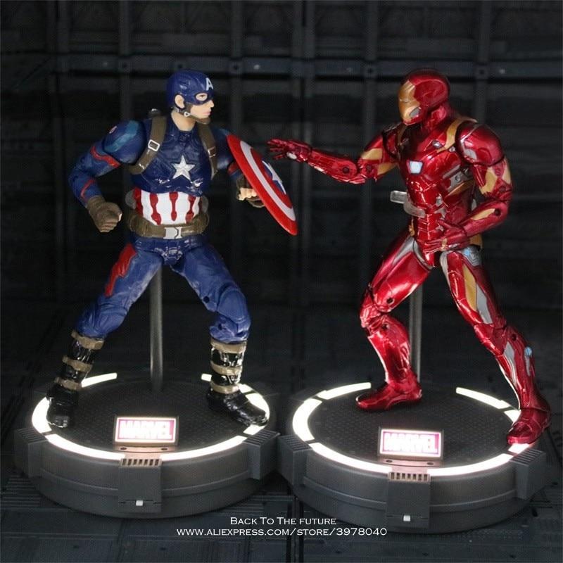где купить Disney Marvel Avengers Captain America Iron Man With Base 18cm Action Figure Anime Mini Decoration PVC Collection Figurine Toy по лучшей цене