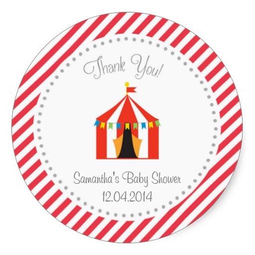 3.8 Cm Circo Tenda Baby Shower Grazie Adesivo Rosso