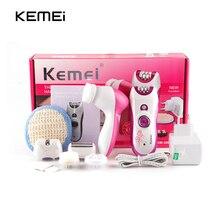 Kemei 6 в 1 Электрический женский эпилятор перезаряжаемый женский эпилятор Бритва для удаления волос с питанием очищающие устройства для лица мытье лица