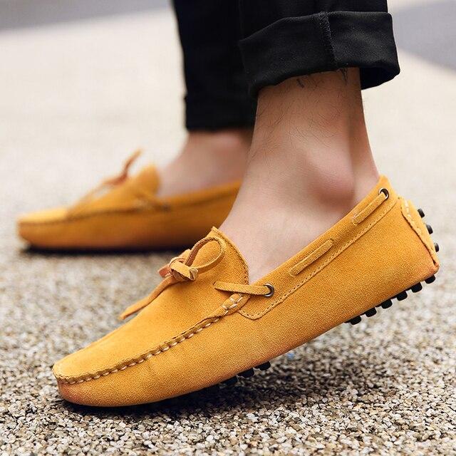 GOXPACER אביב גברים אמיתי עור נעליים יומיומיות סירת אופנה חדש גברים נעלי נהיגה דירות 2018 חמה משלוח חינם