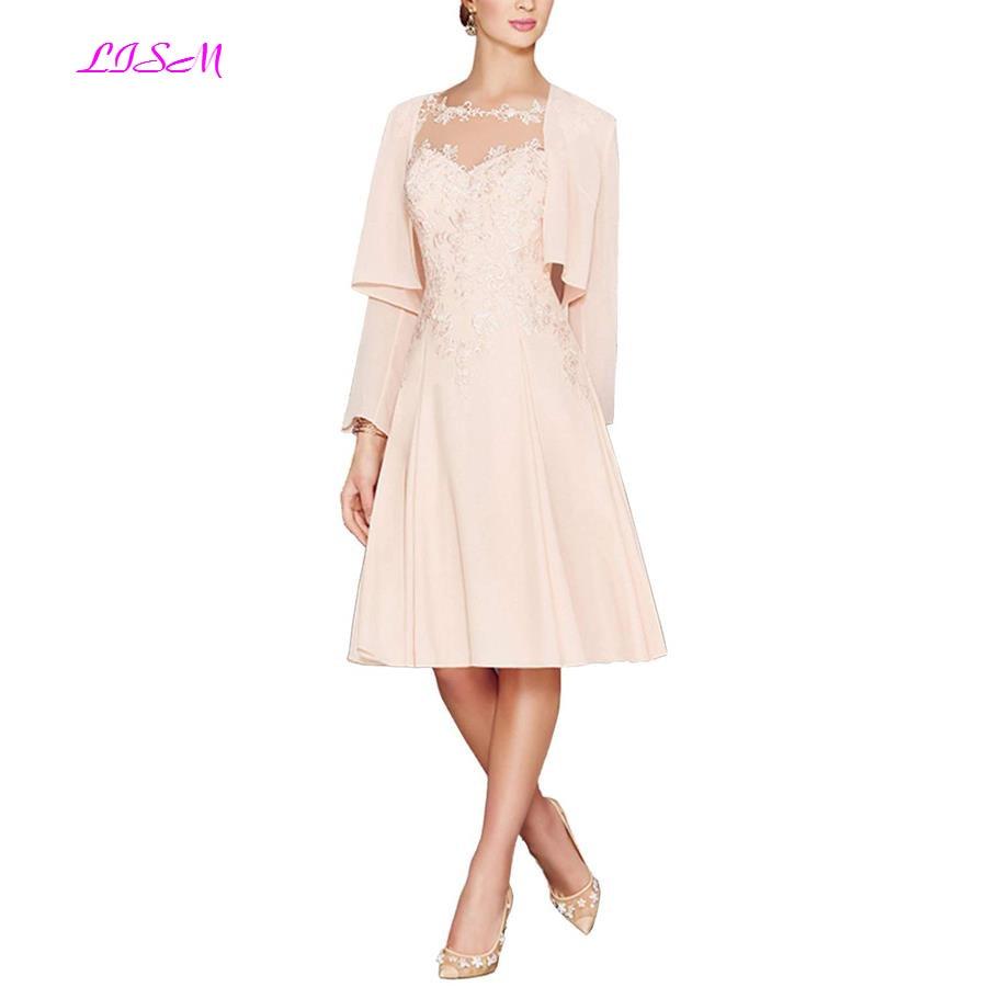 Grande taille mère de la mariée robes genou longueur en mousseline de soie mère du marié robe pour mariage avec veste élégante robe de soirée