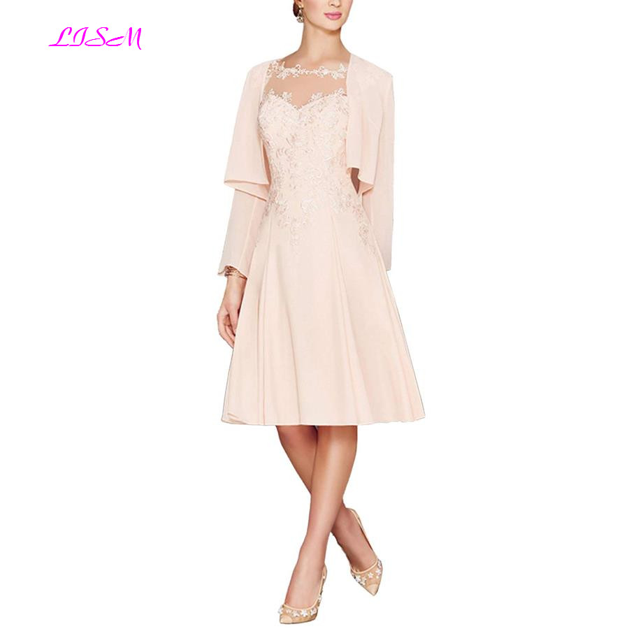 US $66.08 44% OFF|Plus Size Mother of the Bride Dresses Knee Length Chiffon  Mother of the Groom Dress for Wedding with Jacket Elegant Evening Gown-in  ...