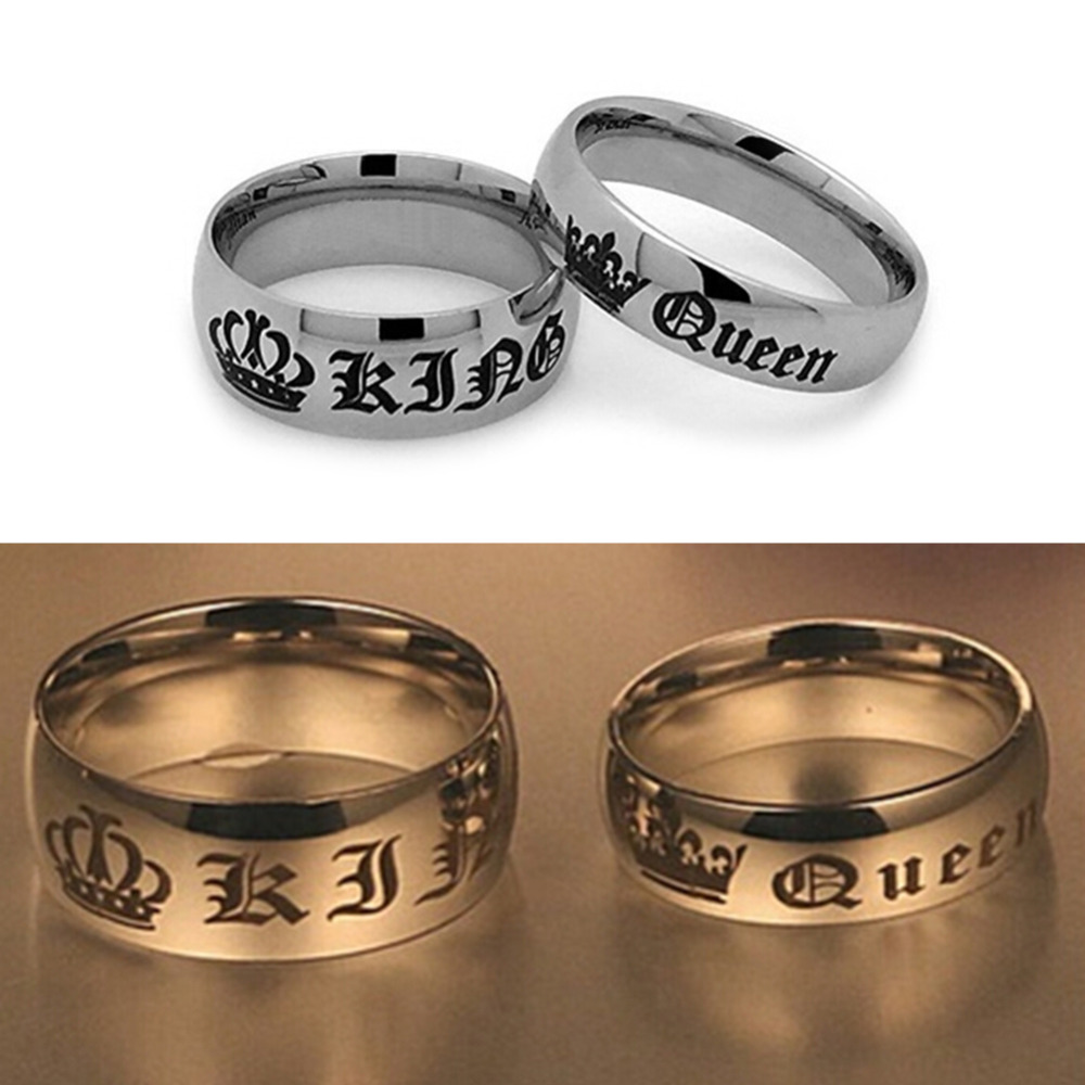 couple and lover ring gothic rock vintage rings king queen crown