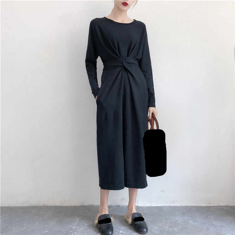 New Women Solid Twist Knot Lace Up Mid Dress Elegant Long Sleeve High Waist A-line Dress Casual Empire Dresses