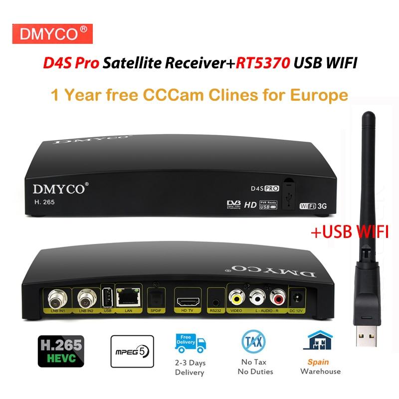 1 anno Europa Cccam Clines Spagna DVB-S2 D4S Pro Ricevitore Satellitare TV + USB WIFI di sostegno youtube bisskey MPEG-5 HD lnb Recettore TV