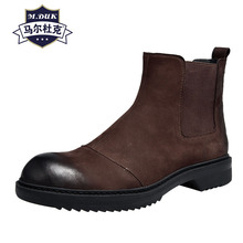 Autumn winter new British Riding boots mens Genuine Leather Chelsea all-match cowhide cashmere zipper steel toe shoes