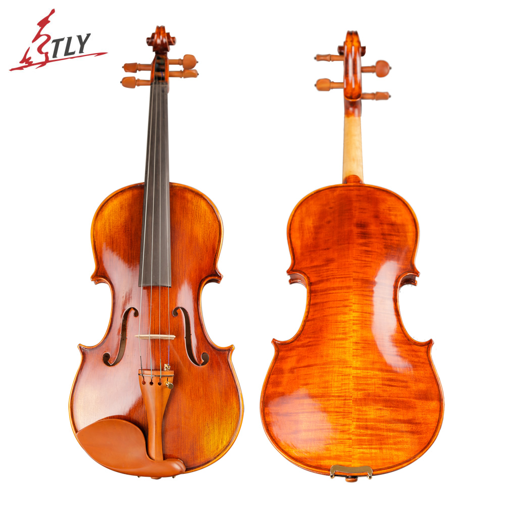 TONGLING Blagovna znamka Professional Antique Violin 4/4 Natural Stripes Maple Master Ročno obrtno olje lakiranje Violino + Bow Rosin Case
