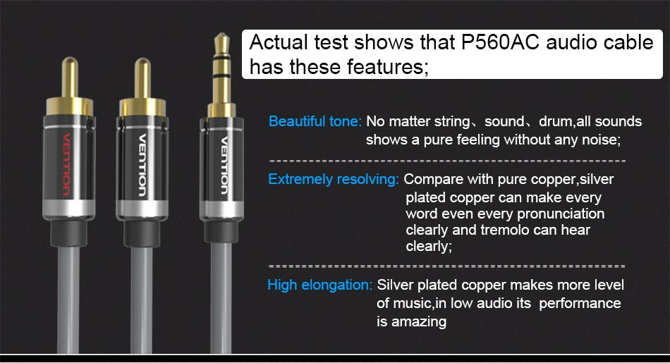 Vention RCA Audio Cable 3.5mm Jack to 2 RCA AUX Cable 2RCA Cable For Home Theater iPhone Headphone DVD 1m 2m 3m 5m 5