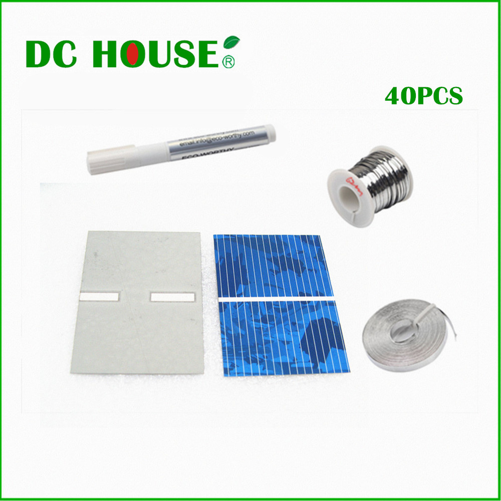 40 pcs17 6 efficiency 52x38mm solar cell poly crystalline for Energy efficiency kits