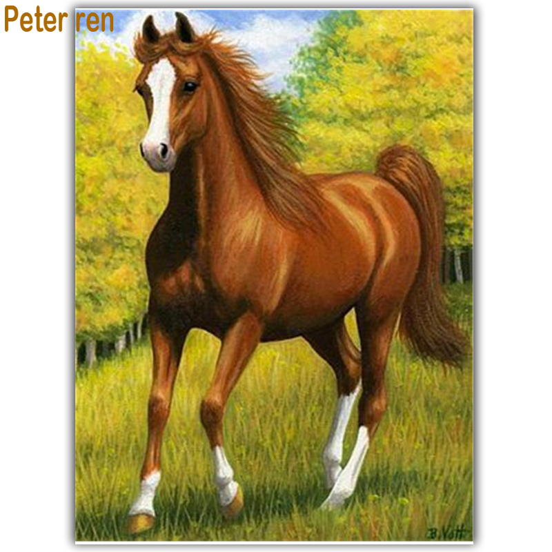 Peter ren DIY Diamond painting kit Craft Full Embroidery animal gift 3d square mosaic icon rhinestone paintings Horse grassland