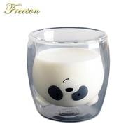 Lovely Panda Double Wall Glass Cup 260ml Bear Beer Glasses creativo mattina latte bicchiere succo di vetro resistente al calore tazza Shot Glass