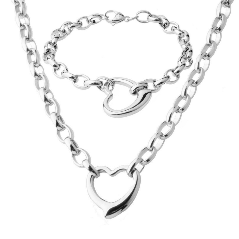"""New Fashion Charms Heart 316L Stainless Steel Silver Rolo Oval Chain Womens Girls Necklace 18""""&Bracelet Bangle 8"""" Jewelry Sets"""