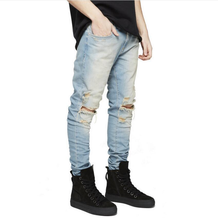 2019 Men Stretchy Ripped Skinny Biker Embroidery Print   Jeans   Destroyed Hole Taped Slim Fit Denim Scratched High Quality   Jean   36